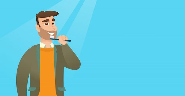 Homme se brosser les dents vector illustration. Vecteur Premium