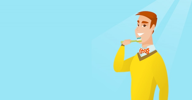 Homme se brosser ses dents vector illustration. Vecteur Premium
