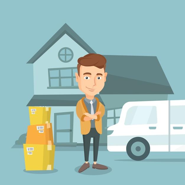Homme se déplaçant à la maison illustration vectorielle. Vecteur Premium
