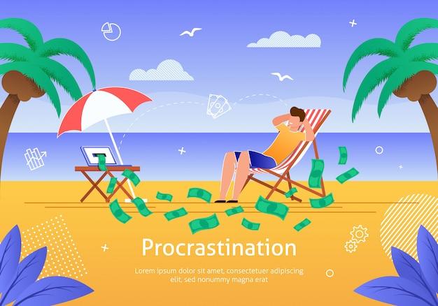 Homme se détendre sur la plage près de l'océan gagner de l'argent. Vecteur Premium