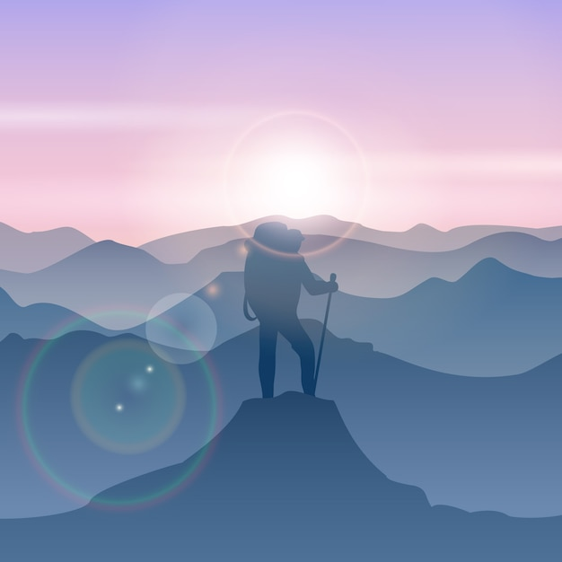 L'homme Se Dresse Sur Le Sommet De La Montagne. Illustration De Vecteur Montagne Voyage Homme. Sommet De La Montagne De Randonnée, Sommet De La Montagne, Illustration De L'homme Debout Vecteur gratuit