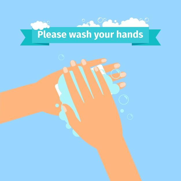Homme se laver les mains Vecteur Premium