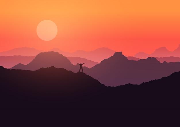 L'homme Se Tenait Sur Le Paysage De Montagne Au Coucher Du Soleil Vecteur gratuit