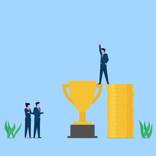 L'homme Se Tient Au-dessus Du Trophée Avec L'aide De Piles D'argent Métaphore De La Corruption. Vecteur Premium