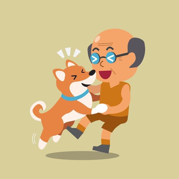 Homme senior de dessin animé avec un chien shiba inu Vecteur Premium