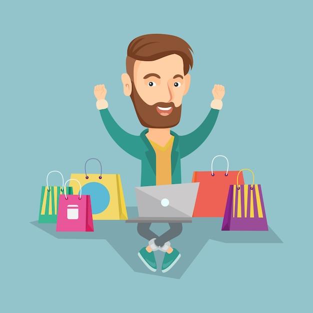 Homme shopping illustration vectorielle en ligne. Vecteur Premium