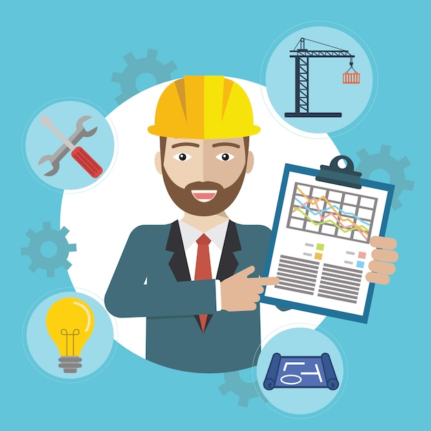 L'homme Sur Le Site De Construction Avec Des Icônes Vecteur gratuit