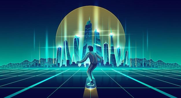 Homme skateboard dans le vecteur de la future métropole Vecteur gratuit