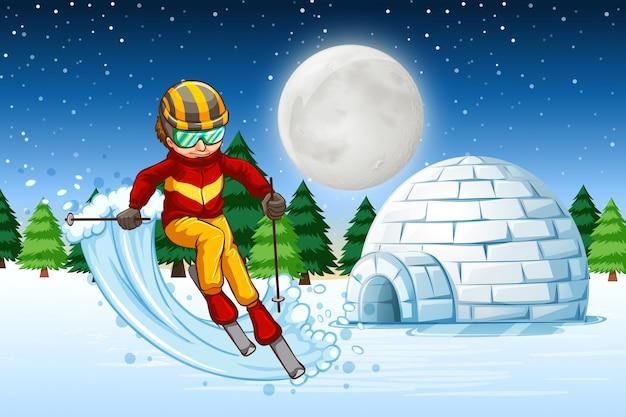 Un homme skie la nuit Vecteur gratuit