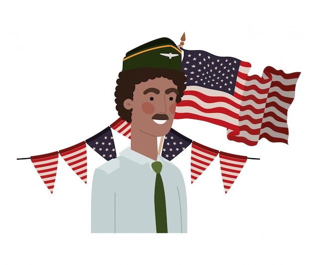 Homme soldat de guerre avec drapeau des états-unis Vecteur Premium