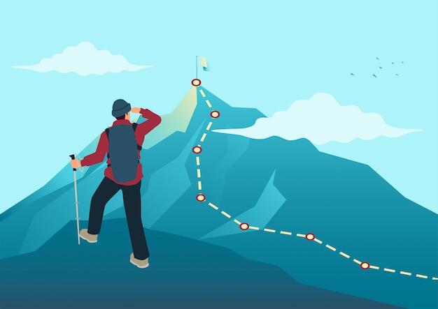 Homme, Sommet, Rocher, Regarder, Sommet, Montagne Vecteur Premium