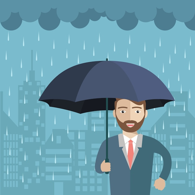 L'homme sous la conception de la pluie Vecteur gratuit