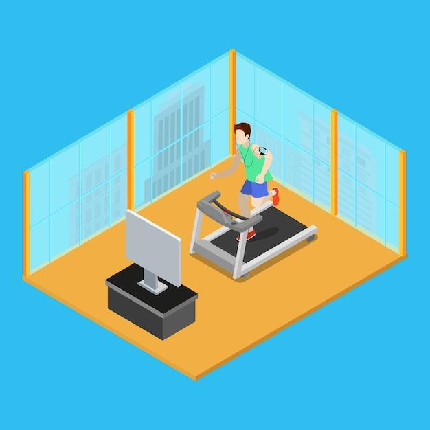 Homme Sportif En Cours D'exécution Sur Tapis Roulant à La Maison. Les Gens Isométriques. Vecteur Premium
