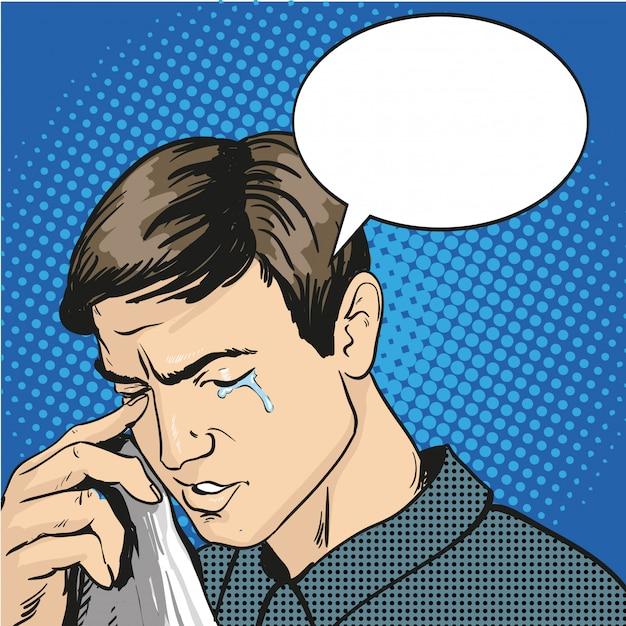 Homme stressé et en pleurs. illustration dans un style bande dessinée rétro pop art Vecteur Premium