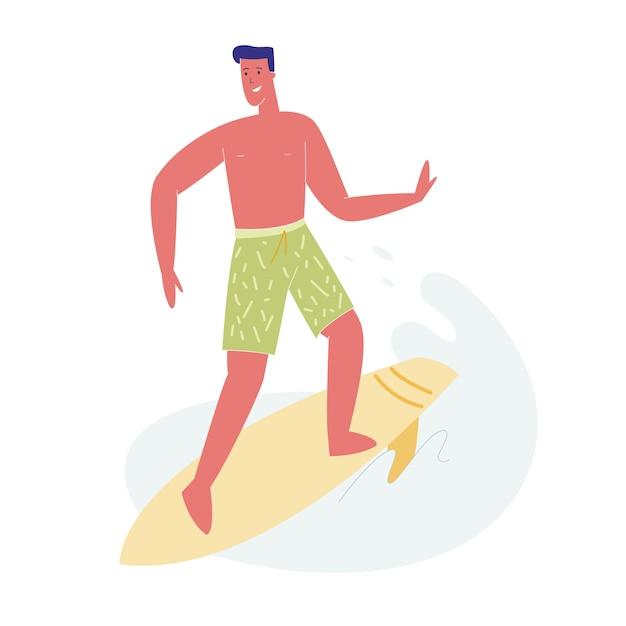 Homme surfeur en maillot de bain équitation vague de mer à bord. Vecteur Premium