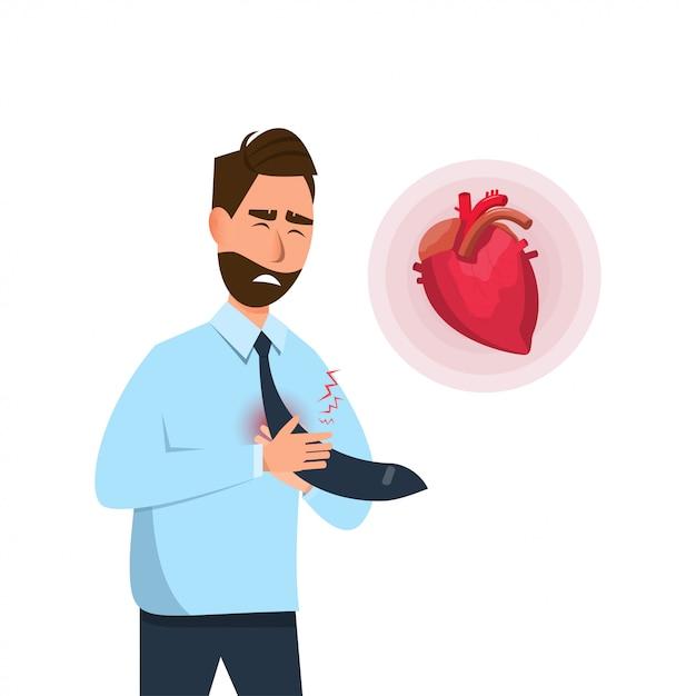 L'homme a des symptômes précoces de crise cardiaque Vecteur Premium