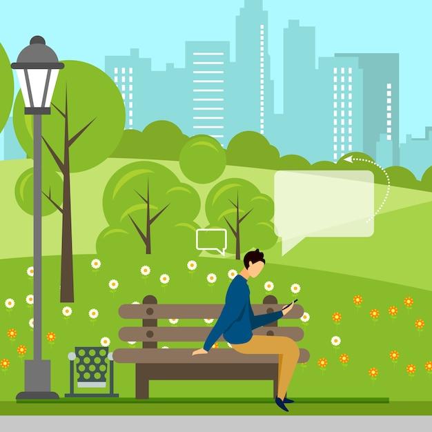 Homme avec téléphone, négociations en ligne dans un parc Vecteur Premium