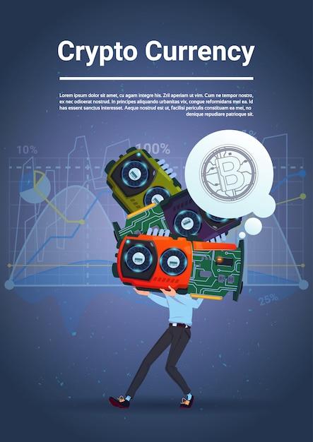 Homme tenant des bitcoins concept microchips numérique monnaie numérique web moderne sur fond bleu Vecteur Premium