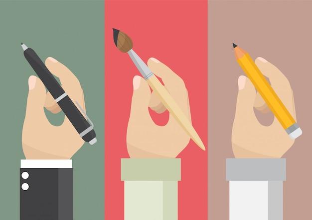 Homme tenant un crayon et un pinceau Vecteur Premium