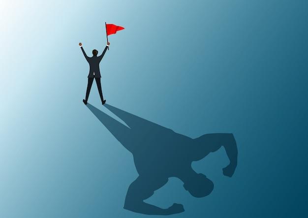 Homme tenant un drapeau rouge à succès avec illustrateur fort ombre homme. Vecteur Premium