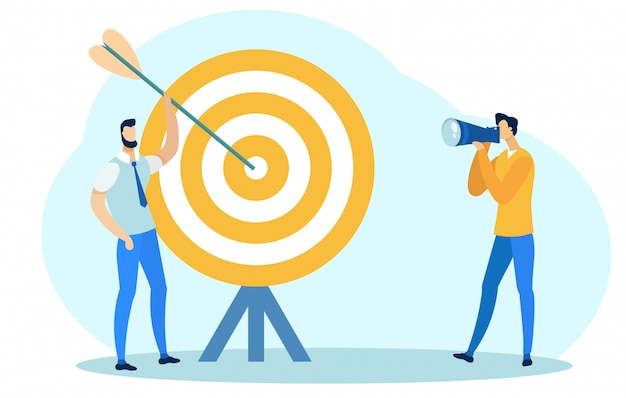 Homme tenant une flèche près de big target, prendre une photo. Vecteur Premium