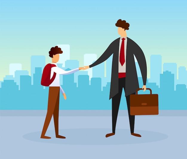 Homme tenant un sac serrant la main d'un écolier adolescent Vecteur Premium