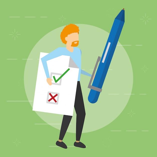 Homme tenant un stylo et un document, style plat Vecteur gratuit