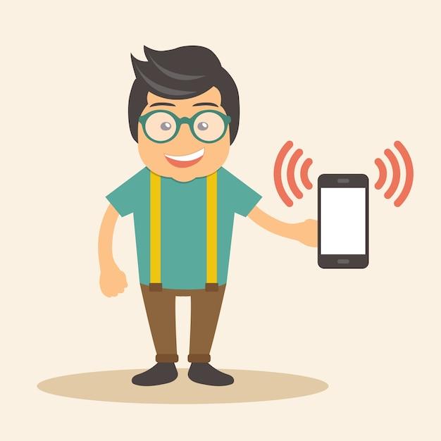 Homme tenant un téléphone intelligent qui sonne Vecteur gratuit