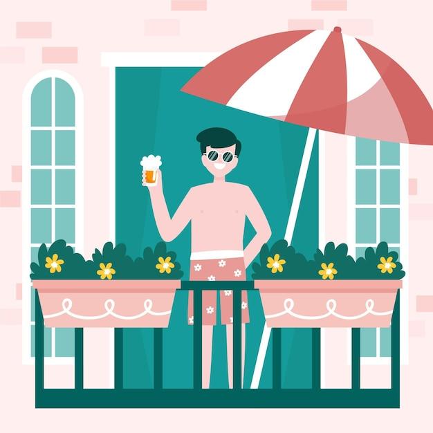 Homme, Tenue, Boisson, Staycation, Concept Vecteur gratuit