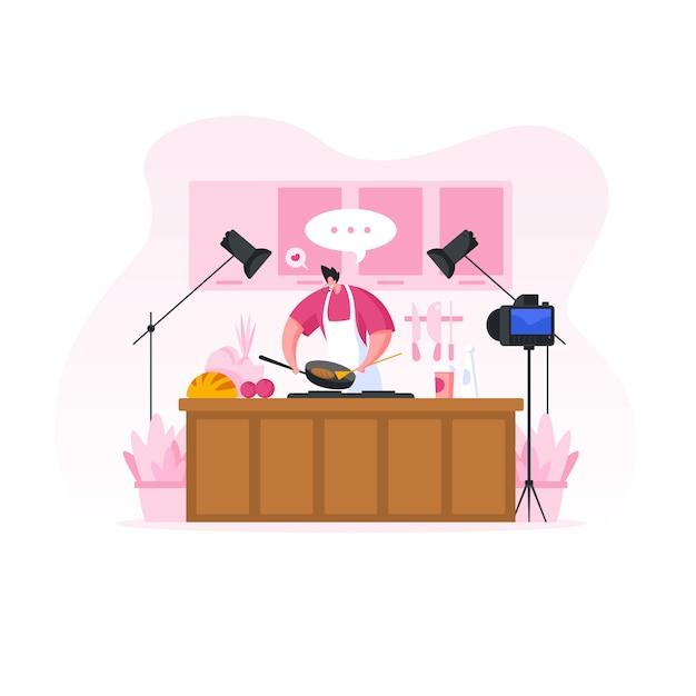 Homme Tirant Le Blog Vidéo De Cuisine. Illustration De Personnes De Dessin Animé Vecteur Premium
