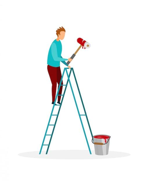 Homme à Tout Faire Peindre Mur Illustration Vectorielle Plane Vecteur Premium