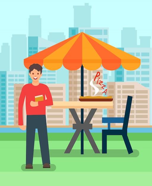 Homme en train de déjeuner en illustration vectorielle pizzeria Vecteur Premium