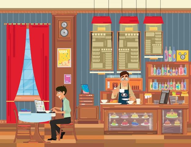 Homme Travaillant Sur Mon Ordinateur Portable Dans Un Petit Café Avec Un Bel Intérieur. Vecteur Premium