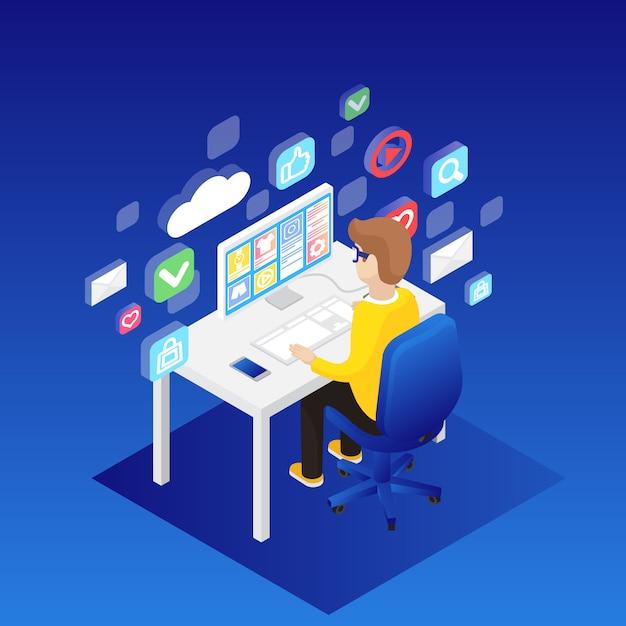 Homme travaillant sur un ordinateur de bureau Vecteur gratuit