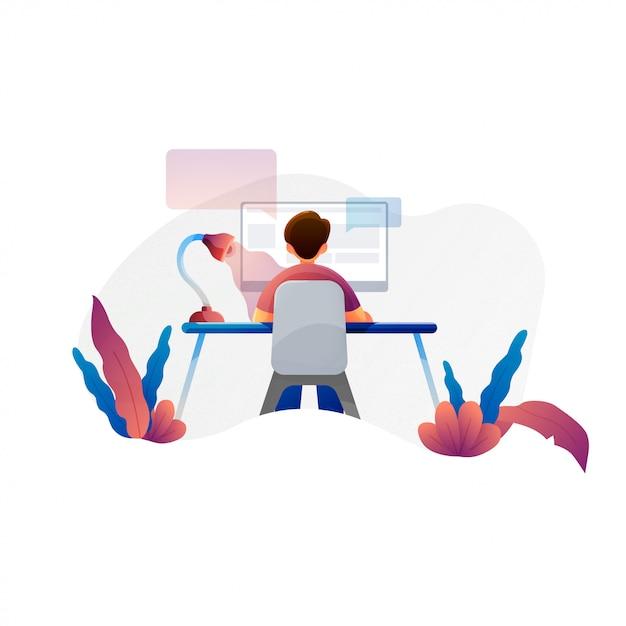Homme travaillant à l'ordinateur, plate illustration vectorielle de programmeur, analyste commercial, concepteur, gestionnaire Vecteur Premium