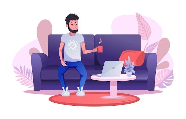 Un Homme Travaille à Distance, Assis Sur Le Canapé Et Buvant Une Tasse De Thé Ou De Café. Vecteur Premium