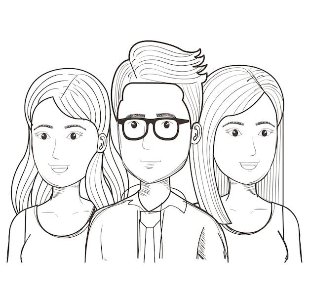 Homme uncolored dessiné main avec des lunettes et des femmes sur fond blanc. illustration vectorielle Vecteur Premium