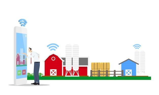 Homme Utilisant Une Application De Téléphonie Mobile Pour Contrôler La Ferme Intelligente Vecteur Premium