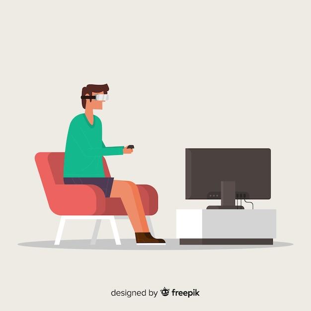 Homme utilisant le fond de réalité virtuelle Vecteur gratuit