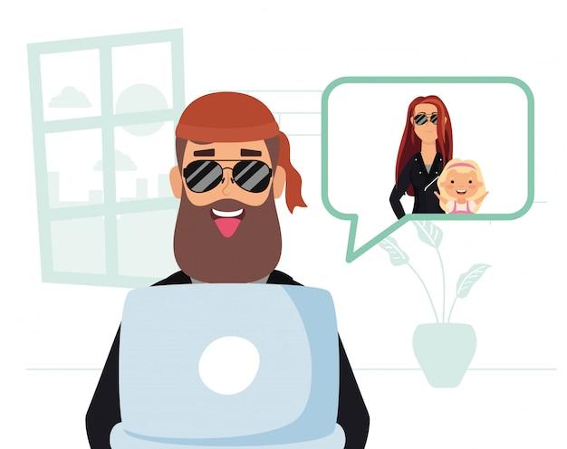 Homme Utilisant Un Ordinateur Portable Pour Communiquer Et Rester à La Maison Vecteur Premium