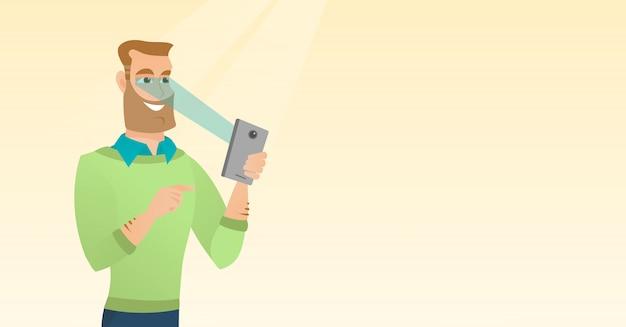 Homme utilisant un scanner d'iris pour déverrouiller son téléphone portable Vecteur Premium