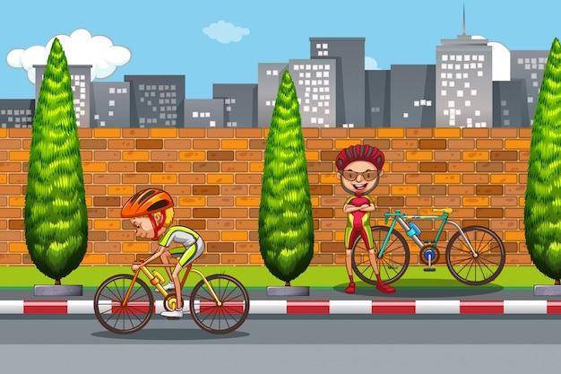 Homme à vélo en ville Vecteur Premium