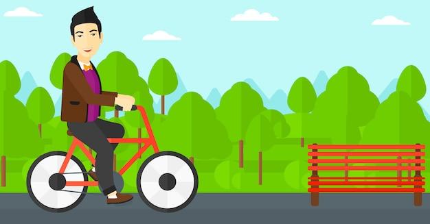 Homme, vélo Vecteur Premium
