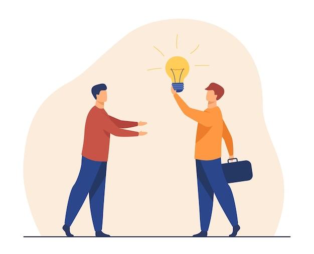 Homme Vendant Une Idée Pour Le Démarrage. Ampoule Brillante, Partenaires, Recherche D'investisseurs. Illustration De Bande Dessinée Vecteur gratuit