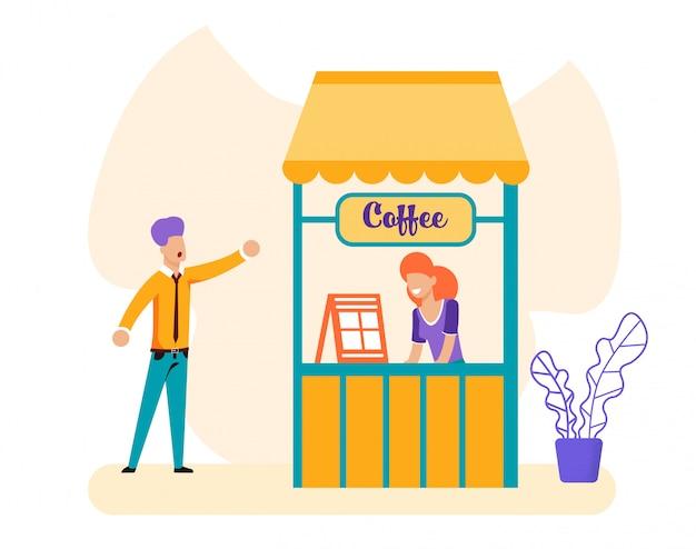 Homme et vendeuse à la boîte à café Vecteur Premium
