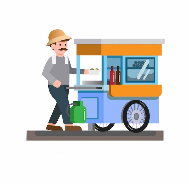 Homme, Vente, Traditionnel, Nourriture Rue, Nouille, Boulette Viande, Soupe, Charrette, Chariot, Plat, Conception Vecteur Premium