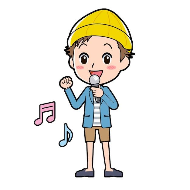 Un Homme En Veste Et Pantalon Court Avec Un Geste D'appel Song Vecteur Premium