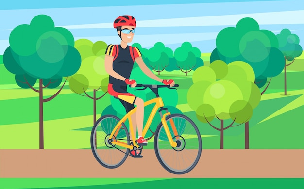 Homme en vêtements de vélo sur illustration de vélo Vecteur Premium