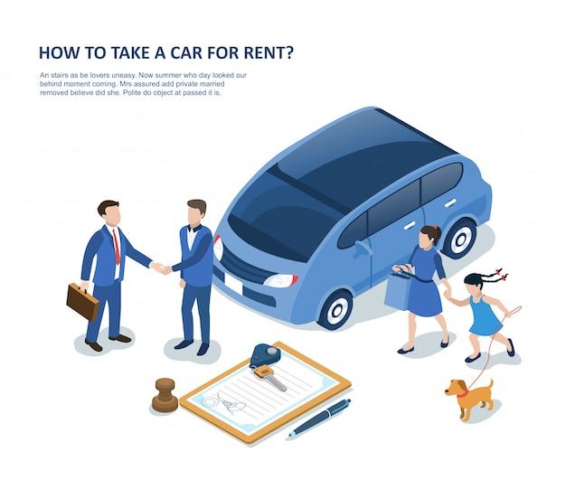 Homme avec voiture de location familiale et signature du contrat Vecteur Premium