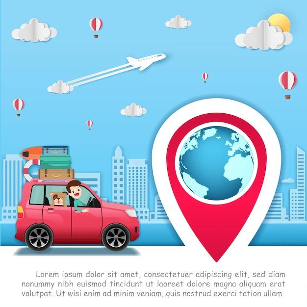 Homme en voiture voyage autour du monde. Vecteur Premium